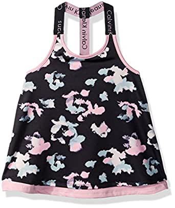 Calvin Klein Girls' Toddler Layered Tank, Anthracite, 2T