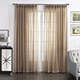 Dreaming Casa Solid Sheer Curtains Poly Linen Textured Window Treatment Draperies Double Pleated 84 Inches Long for Bedroom 2 Panels (2 x 100 Wide x 84″ L) Beige