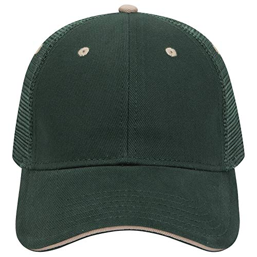 Otto Caps Brushed Bull Denim Sandwich Visor Solid and Two Tone Color Low Profile Pro Style Mesh Back Cap