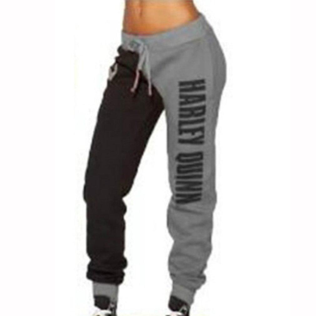 GUAngqi Womens Casual Sweatpants Dance Loose Hip Hop Letter Print Trouser,GreyS