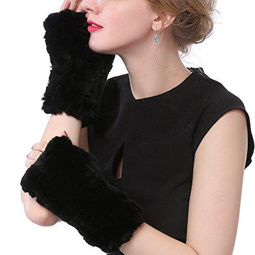 Valpeak Womens Rex Rabbit Fur Winter Mittens Knitted Fingerless Gloves (Black)
