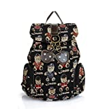 Sunwel Bear Pattern Student Book Backpack for Teenage Girl Laptop Backpack for 11 Inch 12 Inch 14 Inch Macbook Tablet Outdoor Backpack Black Animal Print Bag Canvas Travel Backpack for Women