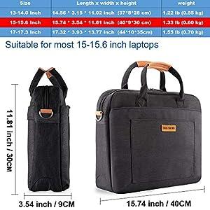 DOB SECHS 15-15.6 Inches Laptop Bag Shockproof Briefcase Shoulder Messenger Bag, Universal Nylon Business Laptop Sleeve Case, Laptop Carrying Handbag for Women and Men, Black