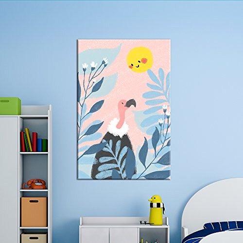 Cute Cartoon Animals Lady Vulture Among The Flowers with Smily Sun Kid