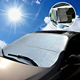 Super PDR® Non-slip Multi-used Car Windshield Snow Cover & Sun Shade Protector Shield Guard Sizes for ALL Vehicles Cars And SUVs 78.7 x 37.4 in (Black)