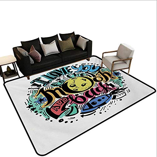 Decorative Floor mat,Grunge Valentines Colorful Composition Rocket Figure Declaration of Love Phrase 6'x8',Can be Used for Floor Decoration