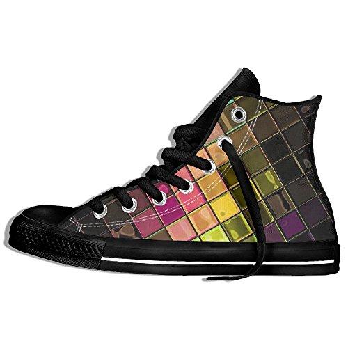 Classiche Sneakers Alte Scarpe Di Tela Antiscivolo Griglia Colorata Casual Da Passeggio Per Uomo Donna Nero