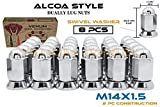 8 Pc Alcoa Style Chrome Lug Nuts For Dually's With Pressed In Washer Attached M14x1.5 Thread Fits Silverado Sierra 3500HD Ford F-350 Ram 3500 (8)
