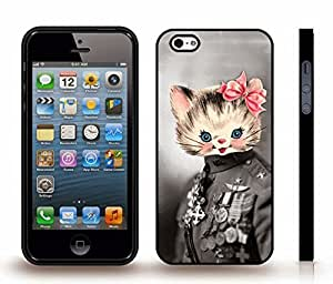 Case For Sam Sung Galaxy S4 Mini Cover with General Kitty, Funny Design, Old Photograph with an Animated Cat Head , Snap-on Cover, Hard Carrying Case (Black)