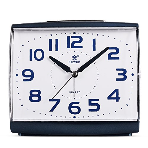Power Large Size Non Ticking Household Alarm Clock for Bedrooms with Light and Snooze (Blue) by POWER