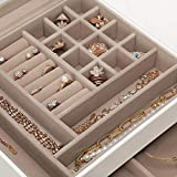 SONGMICS Jewelry Box with Glass Lid, 3-Layer