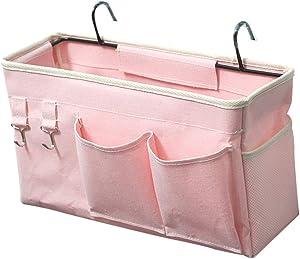 Loghot Bedside Caddy/Bedside Storage Bag Hanging Organizer for Bunk and Hospital Beds,Dorm Rooms Bed Rails,Can be Placed Glasses,Books,Mobile Phones,Keys (Light Pink)