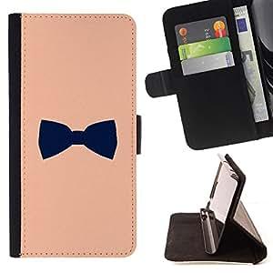 - bowtie peach black gentleman design - - Prima caja de la PU billetera de cuero con ranuras para tarjetas, efectivo desmontable correa para l Funny HouseFOR Sony Xperia m55w Z3 Compact Mini