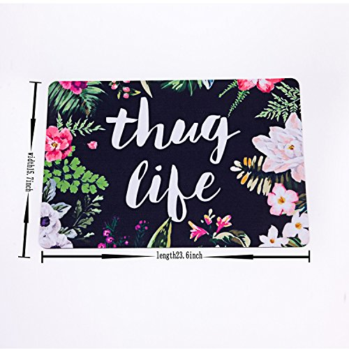 Thug life flowers doormat entrance mat floor mat rug for Big w bathroom mats