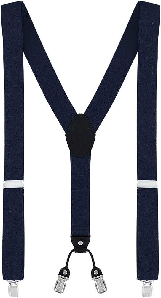 DonDon tirantes anchos 3,5 cm para hombres con 4x clips con cuero en forma de Y - elástico y longitud ajustable - diferentes estilos