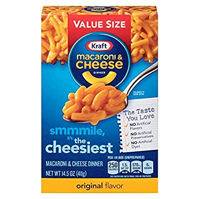 Kraft Mac & Cheese Original Macaroni & Cheese Dinner, Value Size, 14.5 Ounce (Pack of 8)