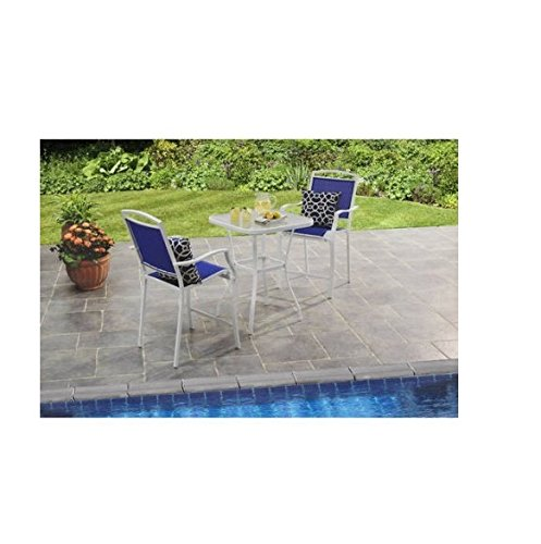 Mainstays Sand Dune 3-Piece High Outdoor Bistro Set, Seats 2, Blue (Table Sand 27')