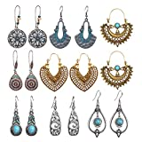 SUNNYOUTH 8 Pairs Vintage Statement Drop Dangle Earrings Bohemian National Style Hollow Water Drop Heart Shaped Alloy Long Boho Dangle Earrings for Women Girls: more info