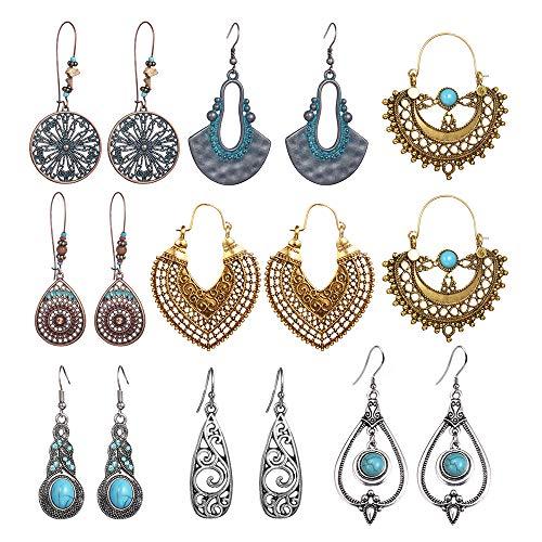 SUNNYOUTH 8 Pairs Vintage Statement Drop Dangle Earrings Bohemian National Style Hollow Water Drop Heart Shaped Alloy Long Boho Dangle Earrings for Women Girls