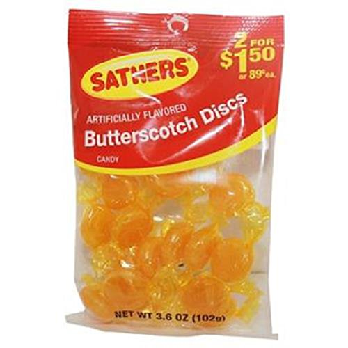 Product Of Sathers, 2/$1.50 Butterscotch Discs, Count 12 (3.6 oz) - Sugar Candy / Grab Varieties & Flavors