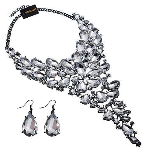 Fashion Jewelry Set Chain White Acrylic Resin Crystal Choker Statement Pendant Bib ()
