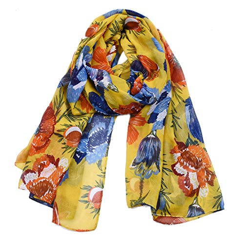 Woogwin Women's Scarves Lady Light Soft Fashion Floral Brids Print Scarf Wrap Shawl (One Size, FlowerYellow)