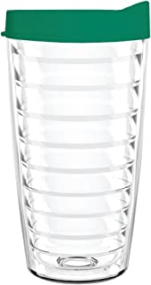 product image for Smile Drinkware USA-Clear 16oz Tritan Insulated Tumbler with Green Lid and Straw