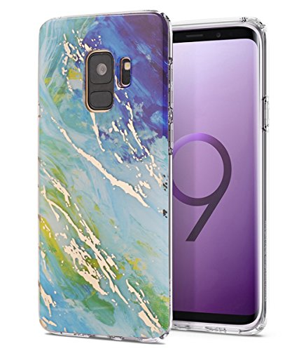 Galaxy S9 Case,Samsung Galaxy S9 Case,Spevert Marble Pattern Hybrid Hard Back Soft TPU Raised Edge Ultra-Thin Shock Absorption Slim Protective Cover Case for Samsung Galaxy S9 2018 - Green