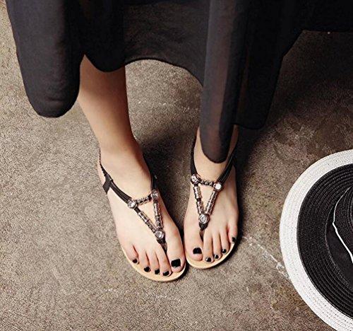 Yiiquan Mujer Sandalias Verano Bohemia Clip Dedo Del Pie Sandalias Con Cuentas Zapatos de Playa Estilo2 Negro