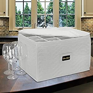 Sorbus Stemware Storage Chest - Deluxe Quilted Case with Dividers - Service for 12 - Great for Protecting or Transporting Wine Glasses, Champagne Flutes, Goblets, and More (Storage Glass - Beige)