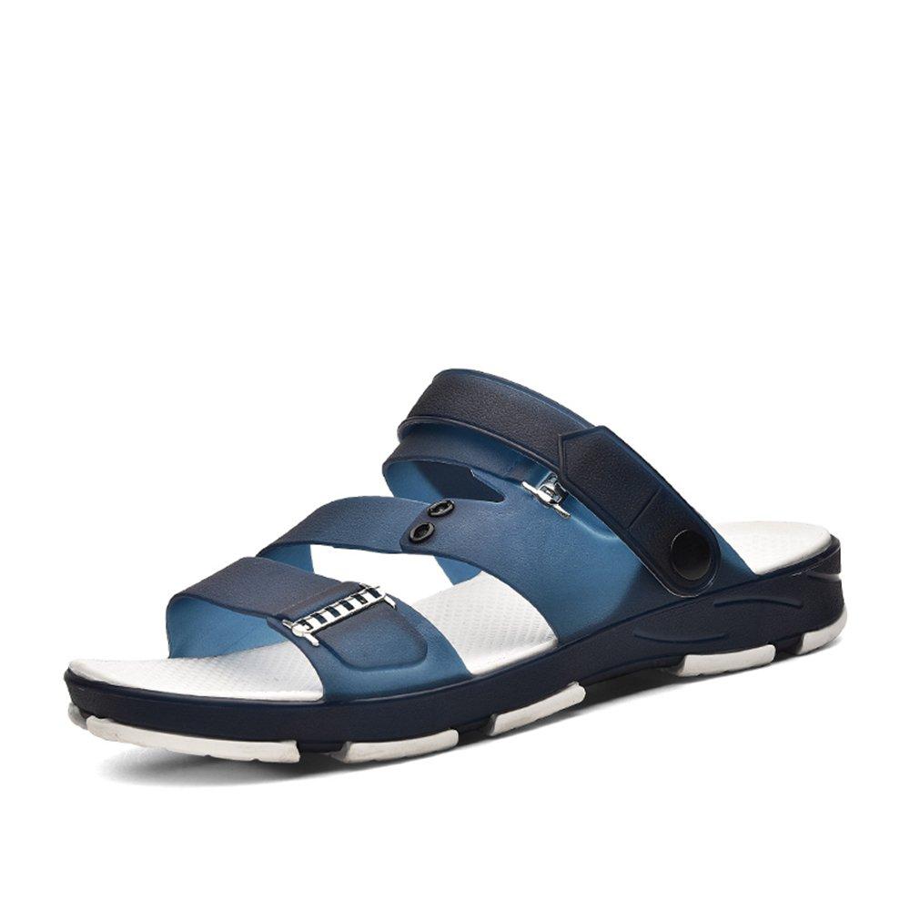 SunnyBaby Herrenmode Snadals Flat Heel Slip auf Casual Sommer Slipper Schuhe Anti Rutsch (Farbe : Dark Gary  Größe : 43EU) Blau