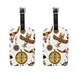 Set of 2 Luggage Tags Paisley Africa Culture Suitcase Labels Travel Accessories
