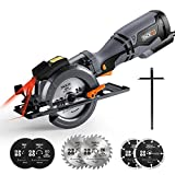 TACKLIFE Circular Saw, Tacklife 710W 3500RPM, 6 Blades (120mm & 115mm), Cutting Depth: 90° (46mm), 45° (35mm), 3m Core Length, Handheld Design, Cut Tile, Wood, Soft Metal and Plastic | TCS115A