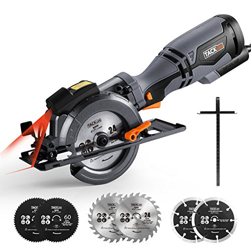 "Circular Saw 4-3/4"", 5.8A, Laser Guide, Max Cutting Depth 1-9/10'' (90°), 1-3/10'' (0°-45°), 6 Blades, Compact Handheld Design for Wood, Metal, Tile and Plastics Cuts-TCS115A"