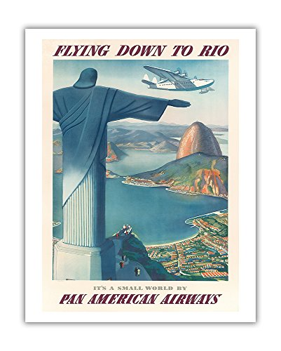 Pacifica Island Art Flying Down to Rio Brazil - Christ the Redeemer Statue - Pan American Airways (PAA) - Vintage Airline Travel Poster by Paul George Lawler c.1930s - Fine Art Print - 11in x 14in (Rio Christ Statue Redeemer)