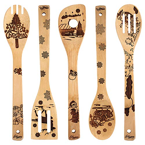 Christmas Gift Idea Utensil Burned Wooden Spoons Set House Warming Wedding New Year Present Slotted Spoon 5 Piece ... (Hostess Gifts For Ideas)