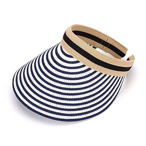 MK MATT KEELY Women's Visor Summer Lady Sun Hat Wide Brim Straw Cap Stripe Navy