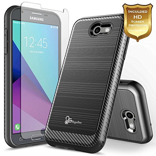 Galaxy J7 Prime Case, Galaxy J7 Sky Pro Case with [Screen Protector HD Clear], NageBee [Carbon Fiber Brushed] [Heavy Duty] Defender [Dual Layer] Case for Samsung Galaxy J7 V (Black)