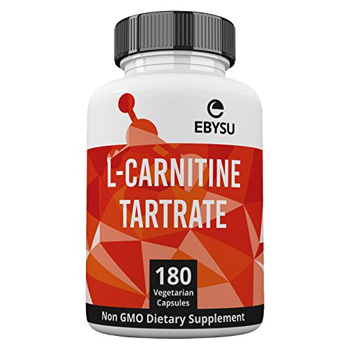 EBYSU L Carnitine Tartrate 180 Capsules 1000mg Max Strength Pure L Carnitine Supplement