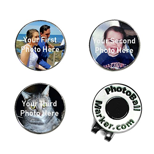 Golf Ball Markers - Custom Set of Three Photo Ball Markers and Hat Clip