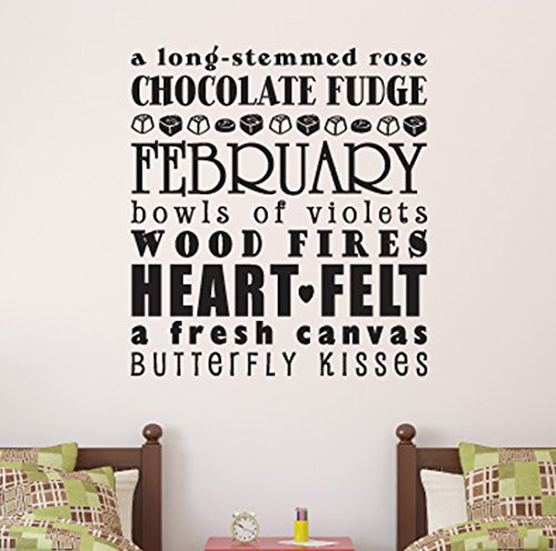 February a long-stemmed rose chocolate fudge Wall Decals Stickers, Black, 24""