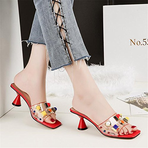 Square Ladies Red Shoes Toe Sexy Open Sandals Heel Lower Block Trasparent Slider AYMYPL Outdoor wTWnxgOAnF
