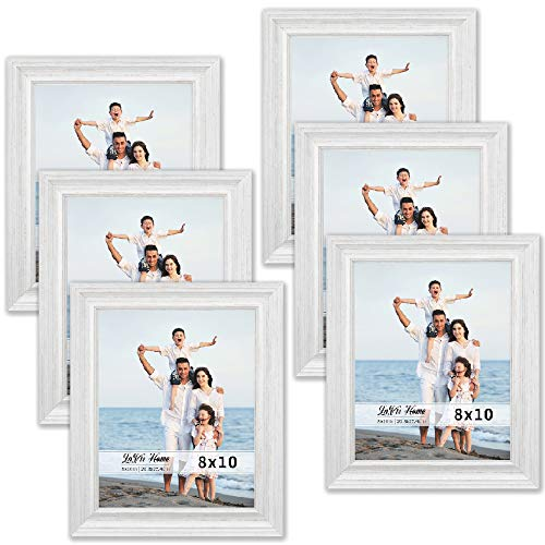 LaVie Home 8x10 Picture Frames (6 Pack, Distressed White Wood Grain) Rustic Photo Frame Set with High Definition Glass for Wall Mount & Table Top Display, Set of 6 Elite Collection (White Distressed Wall Frames)