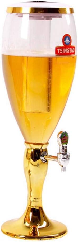 CASILE Torre de Cerveza Material ABS+Pet 3L Clásico Cerveza Dispensador Tubo de Hielo Desmontable,18 * 18 * 53.5cm,Gold,3L