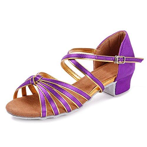 danse 4 les latine filles YFF danse Bal de talons violet mesdames bas femmes Tango noeuds pour enfants enfants chaussures nwUBfYBWqg