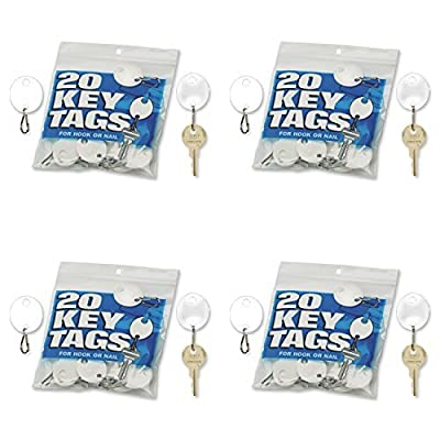 MMF Industries Snap-Hook Key Tags, Plastic, 1.25 Inches Height, White, 20 per Pack (201800706)