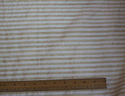 (White & Gold Dupioni Stripes, 100% Silk Fabric, By The Yard, 44