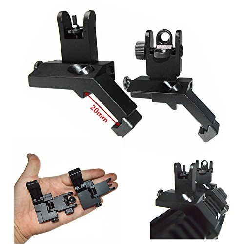 FIRECLUB 2019 Front and Rear flip up 45 Degree Rapid Transition BUIS Backup Iron Sight