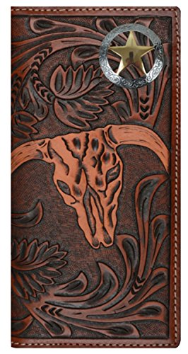Custom 3D Belt Company Texas Ranger Lone Star Long Rodeo Checkbook Brown and Tan Cow Skull Wallet Long