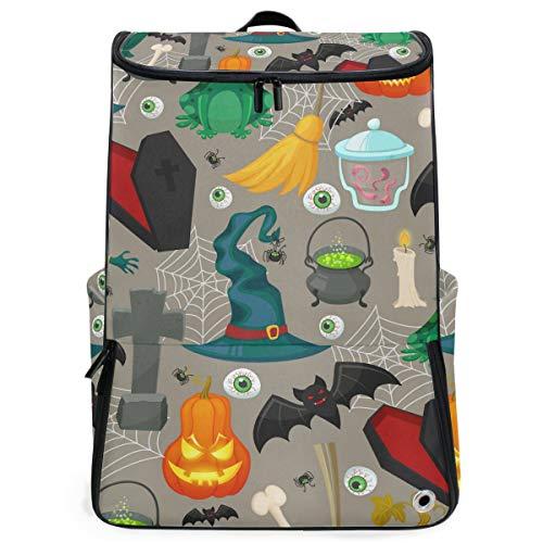Backpack Rucksack Travel Daypack Terror Halloween Witch Hat Pumpkin Eyeball Pattern Book Bag Casual Travel Waterproof